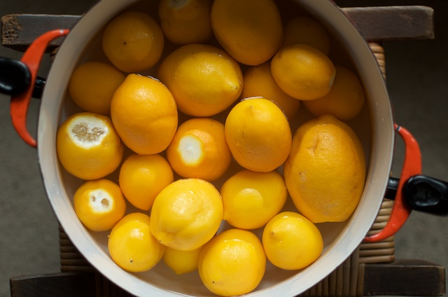 Trimmed Lemons in Pot - Food in Jars
