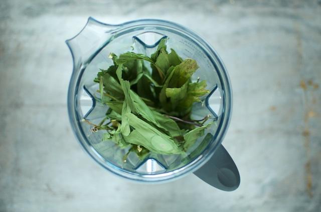 crisp leaves in blender - Food in Jars