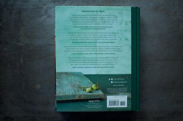 Back cover the cookbook Batch by Joel MacCharles and Dana Harrison
