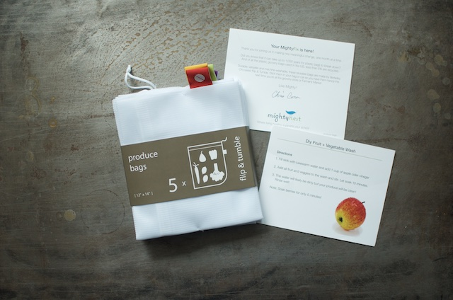 Five mesh produce bags and MightyFix info cards