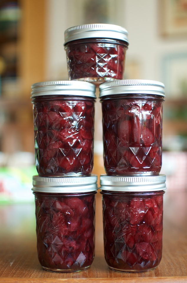Lightly pickled sweet cherries in jars