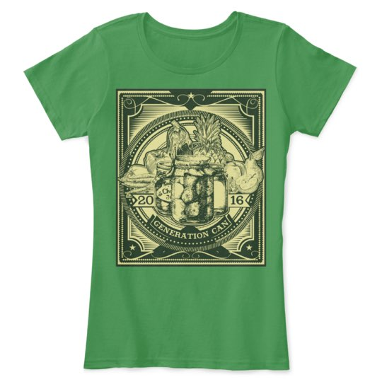 Green canning tee-shirt with an image of canning jars on the front