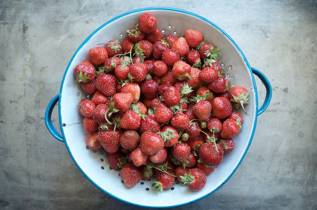 strawberries in a colander (1)