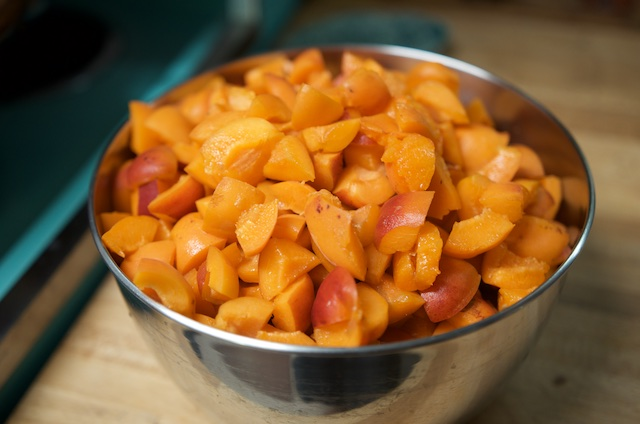 Chopped apricots for simple apricot jam