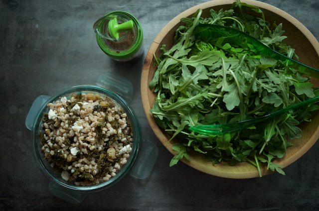 faro salad with bowl of greens