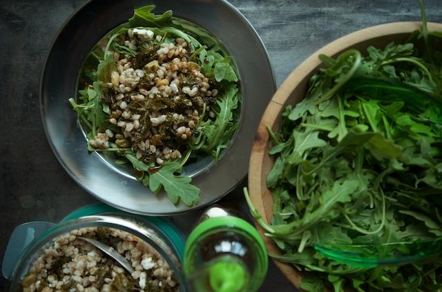 plated farro salad