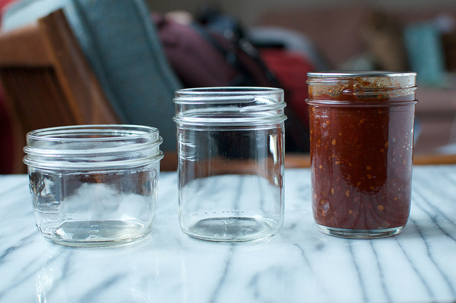 three half pint jars