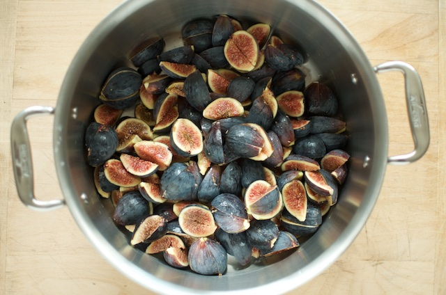 Black mission figs in an All-Clad pot
