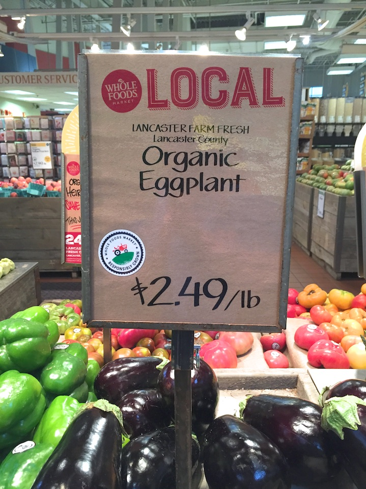 Local eggplant at Whole Foods Market