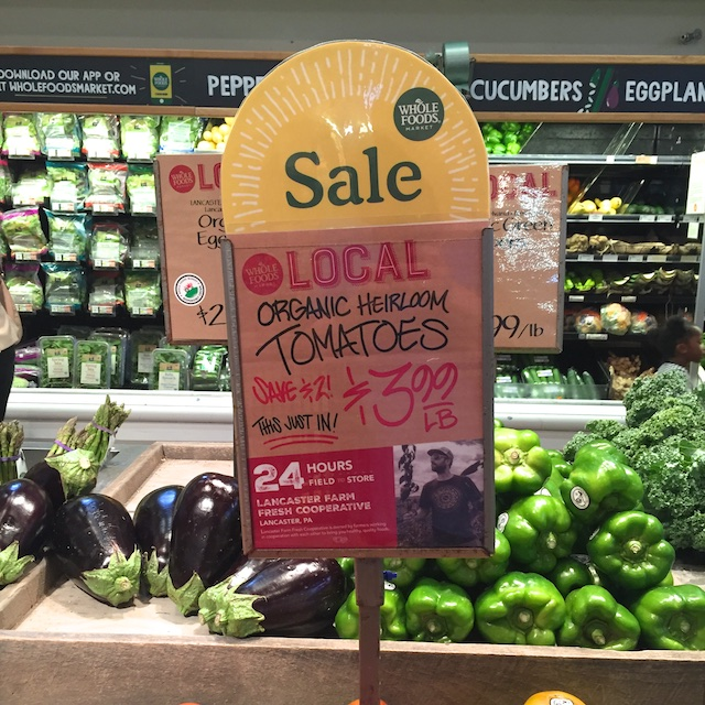 Whole Foods Market 24 Hours Field to Store sign