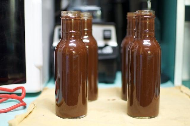 filled sauce bottles