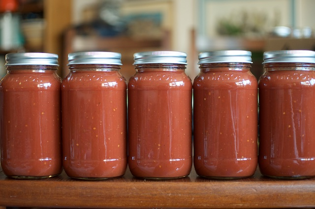five jars of tomato soup concentrate