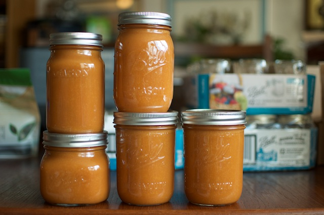 five pints of gingery peach butter