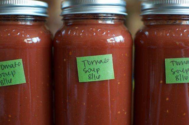 labeled jars of tomato soup concentrate