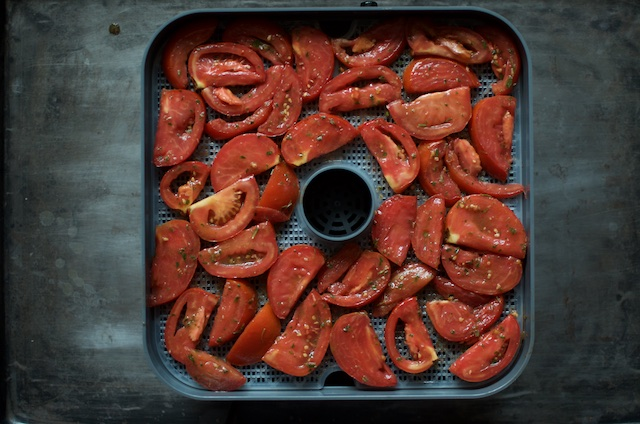 marinated tomatoes on trays for marinated dehydrated tomatoes