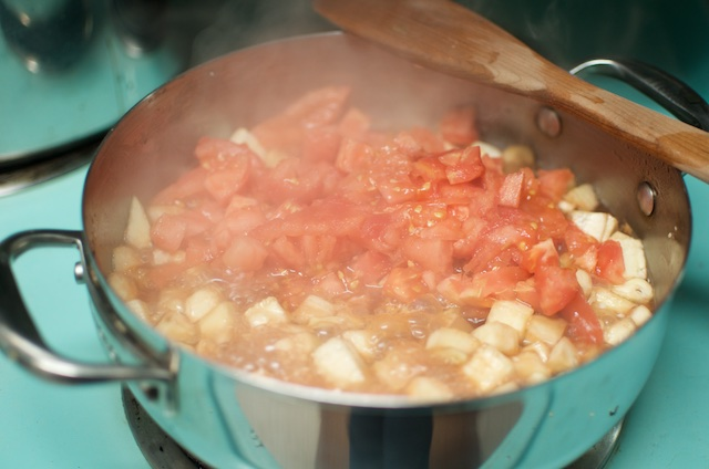 simmering eggplant and tomatoes in red wine vinegar
