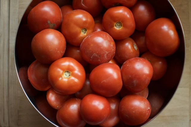 tomatoes in a bowl for tomato soup concentrate