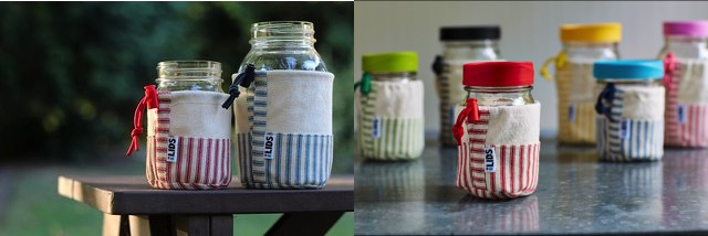 Colorful fabric jar sleeves from Intelligent Lids