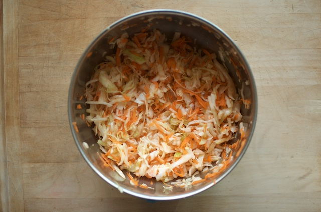 massaged cabbage and carrots for kraut