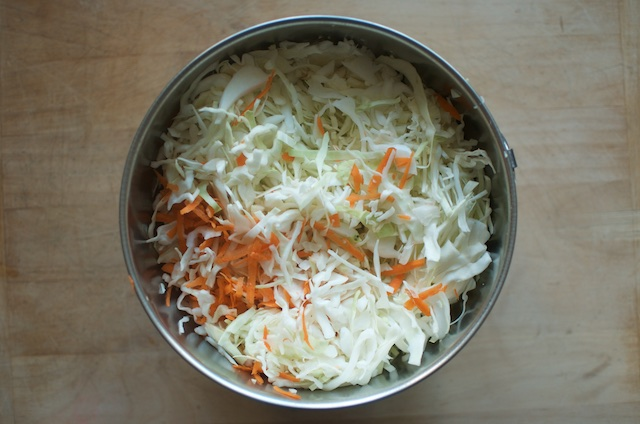 shredded cabbage and carrots for kraut