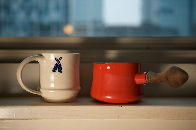 Handmade mug and milk warmer for the coffee lover gift guide