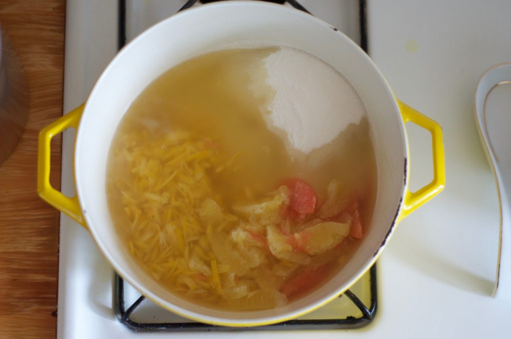 Ingredients in the pot for a batch of meyer lemon grapefruit marmalade