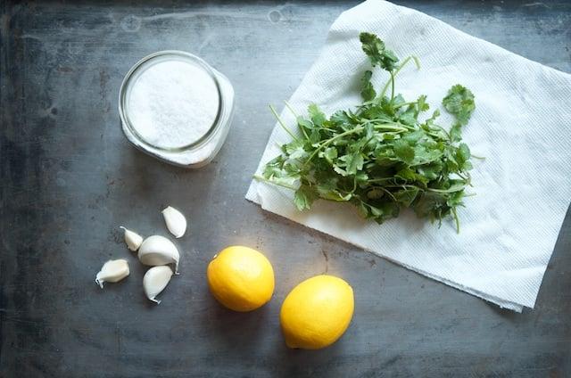 Ingredients for Meyer lemon, garlic, & cilantro salt