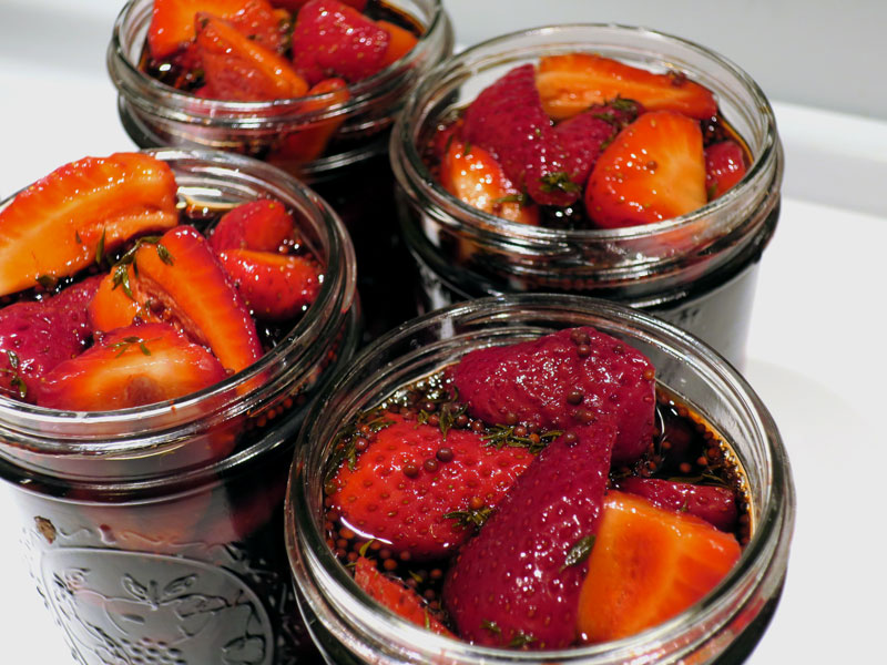 quick pickled balsamic strawberries in their jars