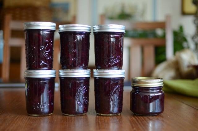 Seven jars of Sweet Cherry Meyer Lemon Marmalade