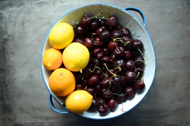 lemons and cherries for Sweet Cherry Meyer Lemon Marmalade