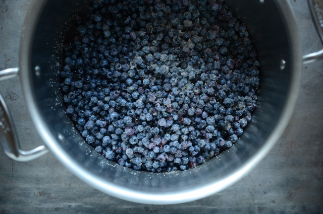 Frozen blueberries in a large pot on a metal surface.