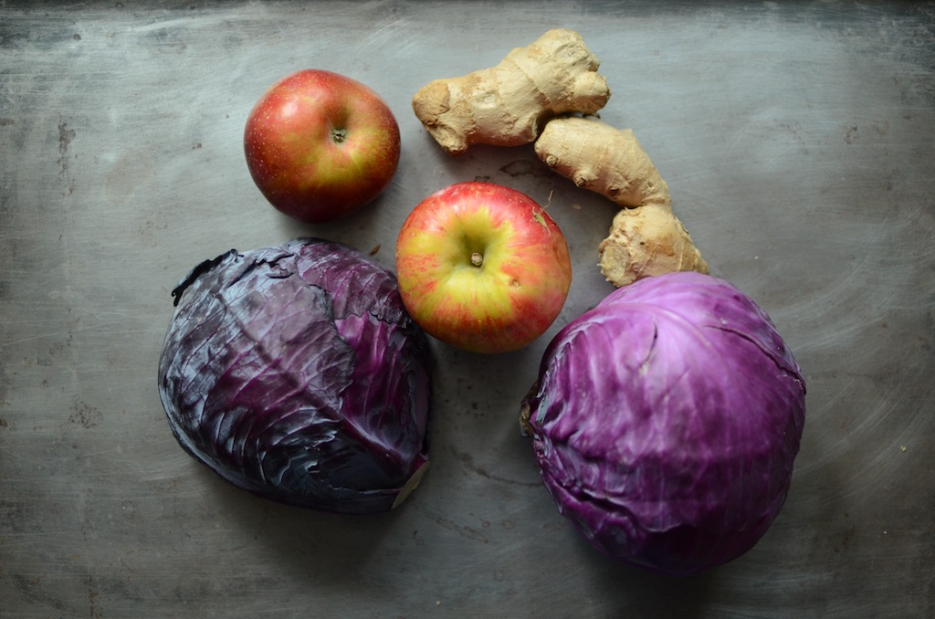 produce for red cabbage apple ginger kraut
