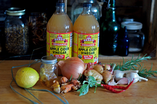 Ingredients for homemade fire cider