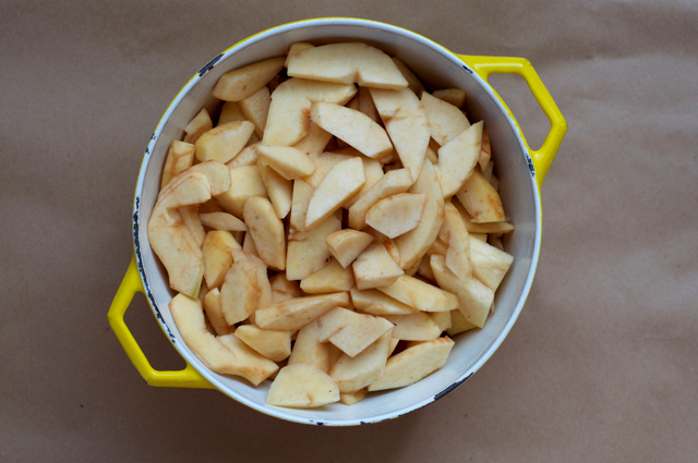 Peeled and chopped quince for homemade quince butter