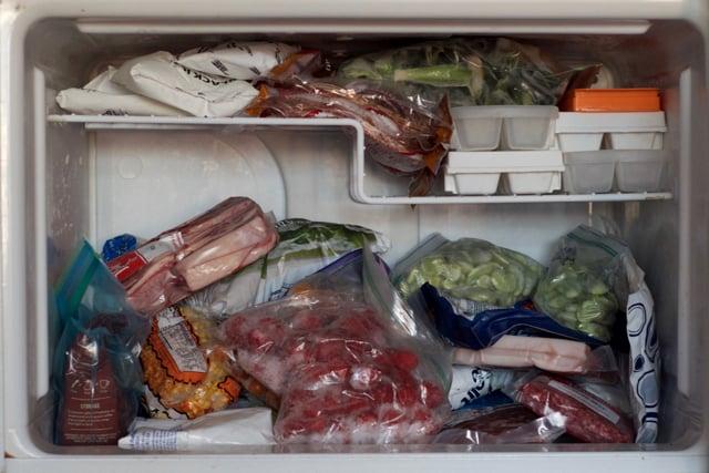 An unorganized freezer