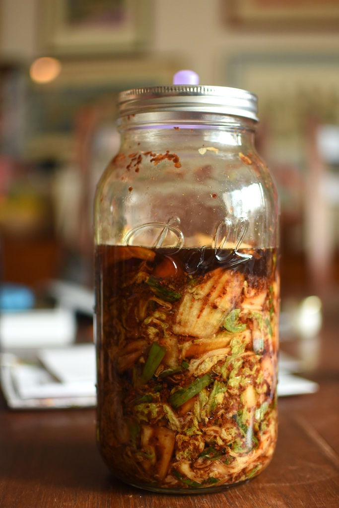 A half gallon jar, filled two-thirds of the way with the quick chopped cabbage kimchi from Korean Home Cooking