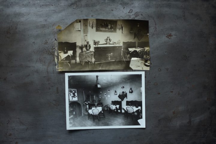 Two images of the interior of the original Russian Inn