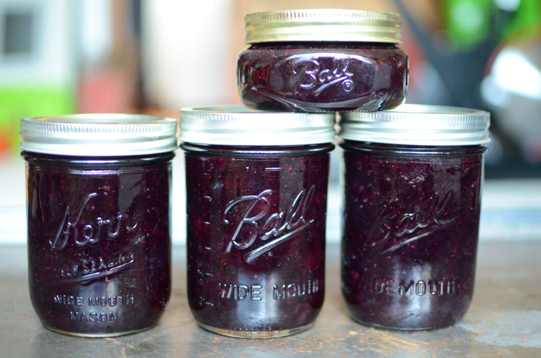 Three and a half pints of cherry blueberry jam.