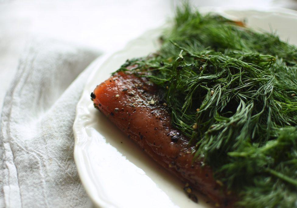 edge of cured salmon