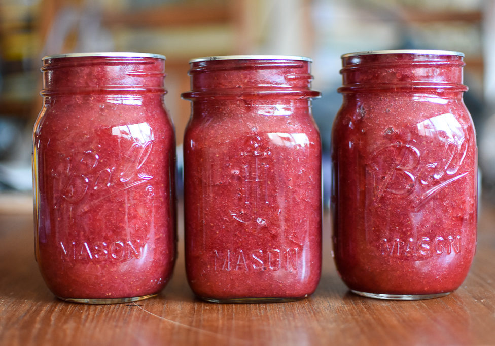 three jars strawberry rhubarb jam